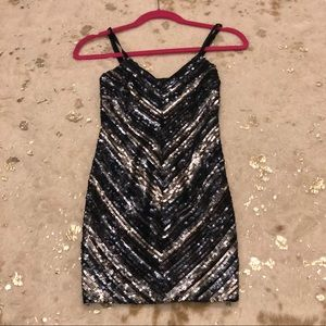 Bebe blue and silver sequin dress
